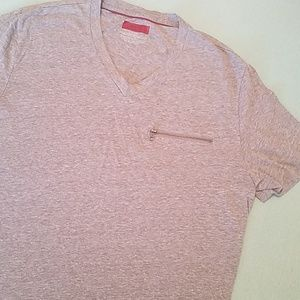 Men's Alfani Slim Fit Vneck Zipper Pocket Tee L